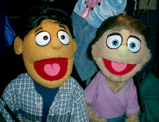 Princeton and Kate Monster puppets