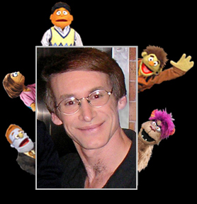 Rick Lyon and puppets he created for AVENUE Q