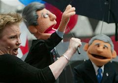 AP Kerry and Bush puppets photo